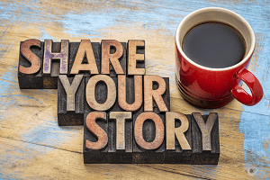 story and coffee cup on table