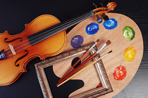 violin and art supplies