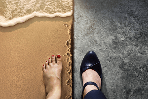 one foot in the work world | one foot in the personal world