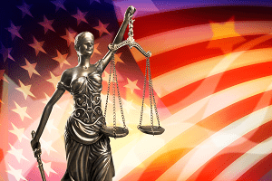 Scales of Justice and the Flag